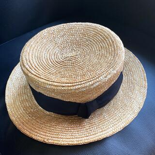 エイミーイストワール(eimy istoire)のエイミーイストワール boater hat ハット 麦わら帽子 カンカン帽(麦わら帽子/ストローハット)