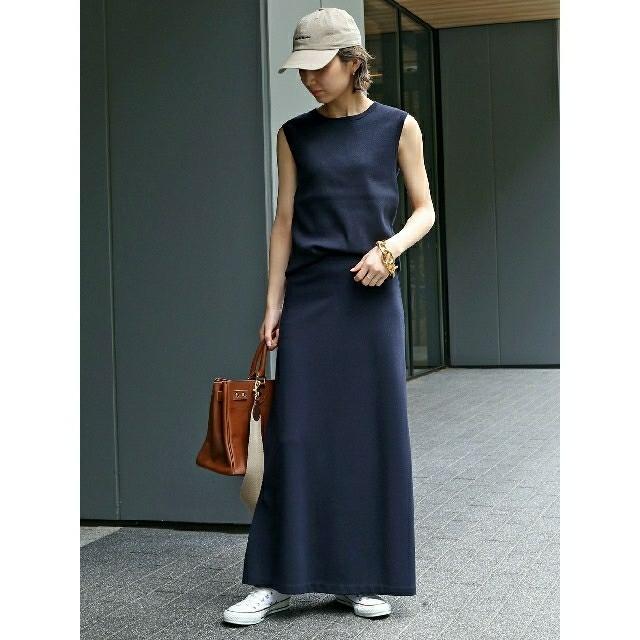 DEUXIEME CLASSE(ドゥーズィエムクラス)のドゥーズィエムクラス jerseyフレアスカート ネイビー レディースのスカート(ロングスカート)の商品写真