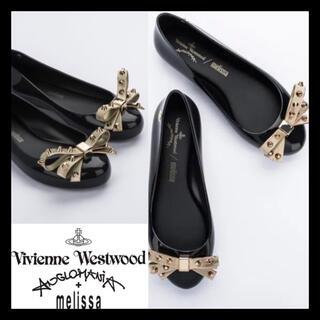 ヴィヴィアンウエストウッド(Vivienne Westwood)の値下げ★新品未使用 vivienne x melissa フラットリボンシューズ(バレエシューズ)