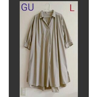 GU - 【美品】GU スキッパーAラインシャツワンピース ロング Lサイズ