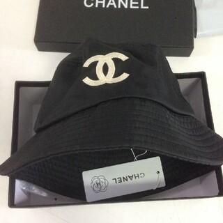 シャネル ロゴ  ブラック 黒 帽子