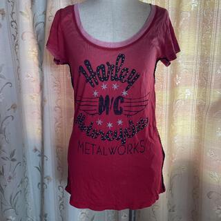 ハーレーダビッドソン(Harley Davidson)のハーレーダビッドソン スタッズ レディース 赤 半袖(Tシャツ(半袖/袖なし))