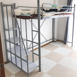 階段付き ロフトベッド シングル 宮・コンセント付き(ロフトベッド/システムベッド)