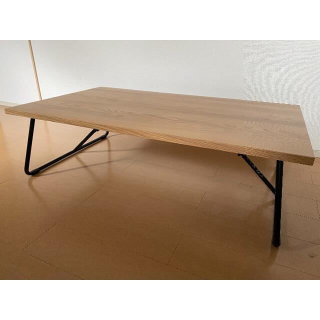 MUJI (無印良品)(ムジルシリョウヒン)の【美品】無印良品 折りたたみローテーブル・幅120cm・オーク材 インテリア/住まい/日用品の机/テーブル(ローテーブル)の商品写真