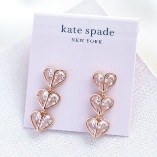 kate spade new york - 【新品♠本物】ケイトスペード ハート3連ピアス クリア