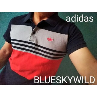 アディダス(adidas)のadidasアディダスオリジナルス 胸刺繍  ボーダースリーライン柄ポロシャツ(ポロシャツ)