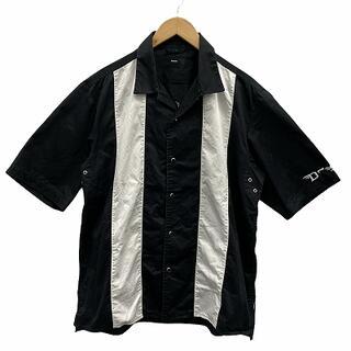 ディーゼル(DIESEL)のディーゼル オープンカラーシャツ 刺繍 バイカラー 半袖 XL 白 黒(シャツ)