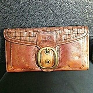 コーチ(COACH)のCOACH コーチ 本革 レザー 編み込み 長財布 ブラウン 茶123(財布)