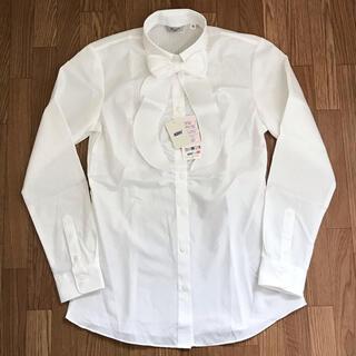 アオキ(AOKI)のアオキ レディーススキッパーシャツ リボン付き 白ストライプ 9号(シャツ/ブラウス(長袖/七分))