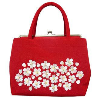 新品送料込み 桜刺繍入り和装バッグ 成人式、卒業式、結婚式に BAG103(ハンドバッグ)