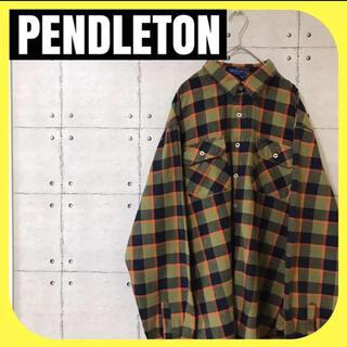 ペンドルトン(PENDLETON)のPENDLETONペンドルトン•ネルチェックシャツ•カーキ•胸ポケット•XL(シャツ)