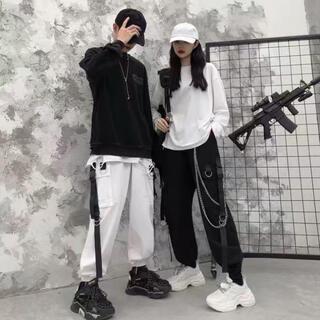 チェーン ジョガーパンツ ストリート レディース メンズ カーゴパンツ 韓国 黒