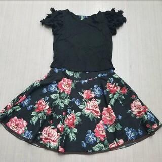 M'S GRACY - エムズグレイシー バラ柄フレアスカート サイズ40(エムズ黒Tシャツ付き)