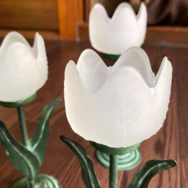 [アメリカ購入アンティーク]チューリップ形キャンドルホルダー 🌷《小》1つ コスメ/美容のリラクゼーション(キャンドル)の商品写真