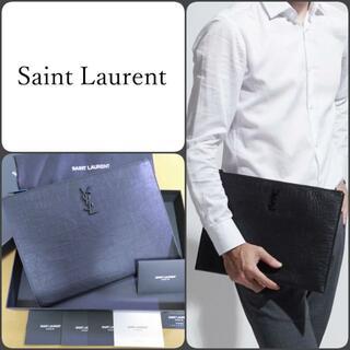 サンローラン(Saint Laurent)のサンローラン クロコ モノグラム クラッチバッグ 男女兼用 タブレット(セカンドバッグ/クラッチバッグ)