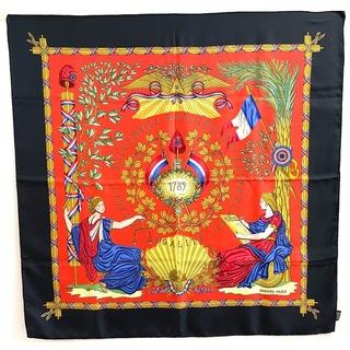 エルメス(Hermes)のエルメス カレ90 1789年 フランス革命を記念して シルクスカーフ ブラック(バンダナ/スカーフ)