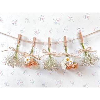 かすみ草とくすみオレンジのドライフラワーガーランド♡スワッグ♡ミニブーケ♡壁掛け