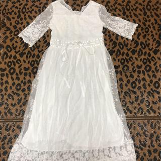 ドレス 春 前撮り ウエディング ワンピース レース 白 花柄 刺繍