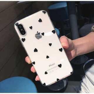 ドット柄 iPhone ケース 透明 クリア ブラックハート X/XS