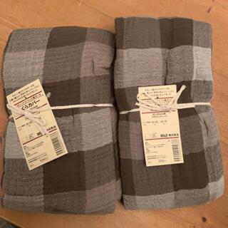 ムジルシリョウヒン(MUJI (無印良品))の新品 無印良品 まくらカバー ブラウンチェック 2枚(シーツ/カバー)