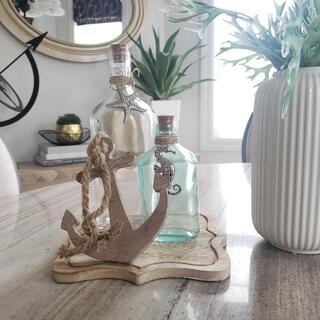 インテリア瓶2本と碇の木製オブジェの3点セット