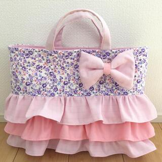レッスンバッグ(パープルの花柄&ピンクのチェック)(バッグ/レッスンバッグ)