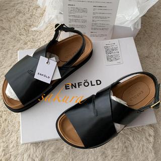 ENFOLD - 新品未使用エンフォルド ENFOLD クロスフラットサンダル レザーブラック