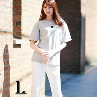 プレイボーイ(PLAYBOY)のPLAYBOY Tシャツ  ユニセックスグレー Lサイズ(Tシャツ(半袖/袖なし))