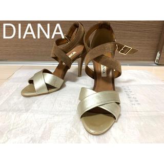 DIANA - DIANA ダイアナ サンダル アンクルストラップ 茶 ゴールド 23.5