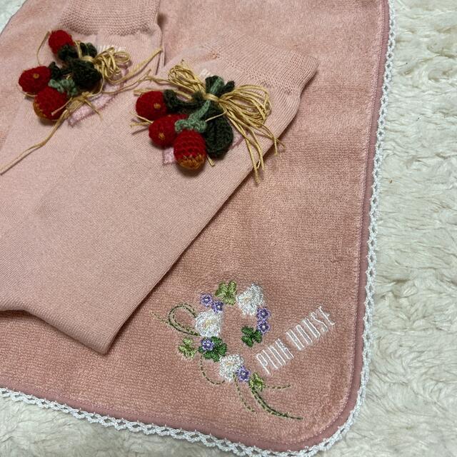 PINK HOUSE(ピンクハウス)のピンクハウス💖かわいい💕苺🍓モチーフソックス&白詰草刺繍タオルハンカチ新品 レディースのファッション小物(ハンカチ)の商品写真