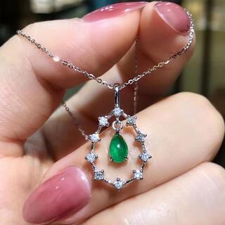 天然 エメラルド  ダイヤ  ペンダントトップ約042ct k18 ¥(ネックレス)