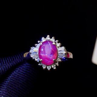 (天使の指輪) 天然 スター ルビー ダイヤ リング約2.56ct pt900^(リング(指輪))