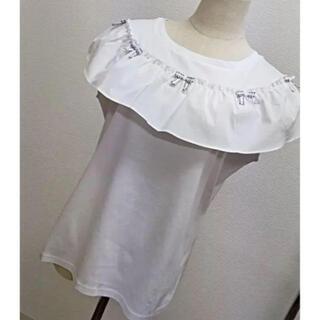 フリルデザインが可愛い異素材プルオーバー(カットソー(半袖/袖なし))