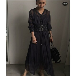 Ameri VINTAGE - CLAIRE JACQUARD PLEATS DRESS アメリヴィンテージ
