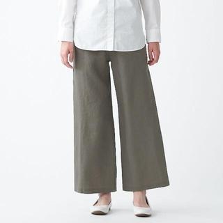 MUJI (無印良品) - 無印良品 フレンチリネンストレートパンツ  婦人L スモーキーグリーン