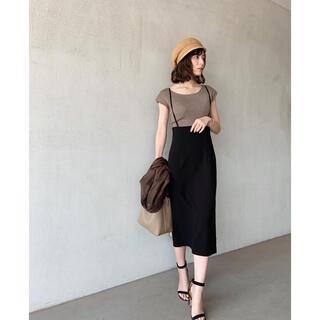 ノーブル(Noble)のnoble ショルダーサルペットタイトスカート ブラック 36(ひざ丈スカート)