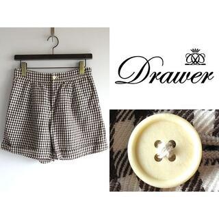Drawer - DRAWER リネンコットン ギンガムチェック ショートパンツ 38