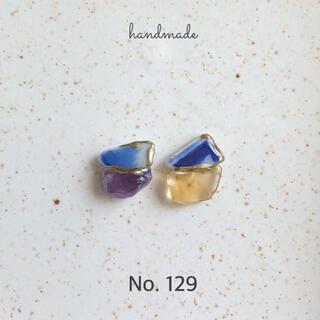 No.129 シー陶器 アメジスト×シトリン 金継ぎ風ピアス/イヤリング(ピアス)