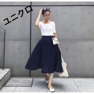ユニクロ(UNIQLO)のユニクロ ドットサーキュラースカート 紺色(ひざ丈スカート)