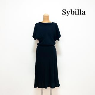 Sybilla - Sybilla シビラ 膝丈ワンピース 黒 イタリア製生地 日本製 夏 上品♡