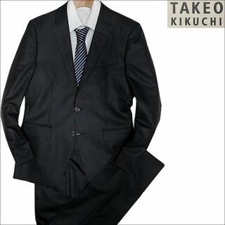 タケオキクチ(TAKEO KIKUCHI)のJ3053 新品 タケオキクチ ストライプスーツ ブラック 2(M)(セットアップ)