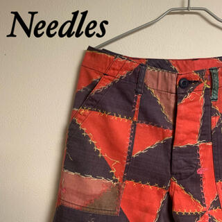 ニードルス(Needles)のneedles ニードルス 総柄 ベイカーパンツ ハーフパンツ 赤(ショートパンツ)