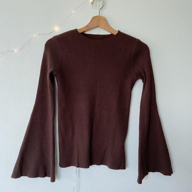 【select MOCA】フレアリブニットトップス ブラウン レディースのトップス(ニット/セーター)の商品写真