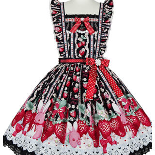 Angelic Pretty - Little Bunny Strawberryエプロン風スカート