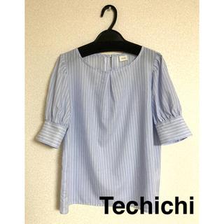 Techichi - ストライプ半袖ブラウス (Techichi)