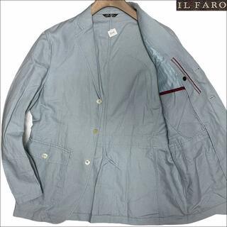 イルファーロバイルチアーノバルベラ(ILFARO by LUCIANO BARBERA)のJ5145 美品 イルファーロ リネン サマーテーラードジャケット 水色 LL(テーラードジャケット)