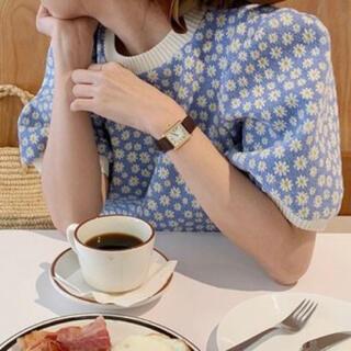 dholic - 韓国ファッション♡フラワーショートニット サマーニット オルチャン 花柄 半袖