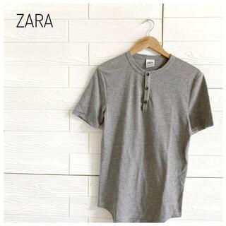 ザラ(ZARA)のZARAT ザラ Tシャツ シャツ グレー メンズ m(Tシャツ/カットソー(半袖/袖なし))