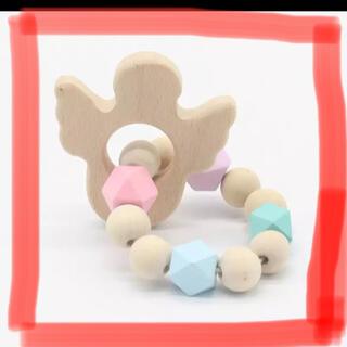 木製 歯固め 天使(がらがら/ラトル)