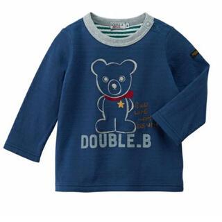 ダブルビー(DOUBLE.B)の★ダブルB★手書き風★長袖Tシャツ★120★ミキハウス★日本製★新品★紺色★(Tシャツ/カットソー)